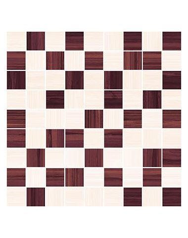 Stripes Мозаика бордо+бежевый 30х30